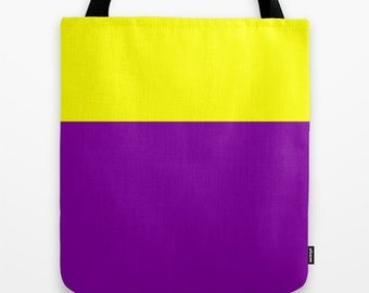 Purple Tote Bag - Yellow and Purple Tote, Color Block, Tote Bag 16x16 inch