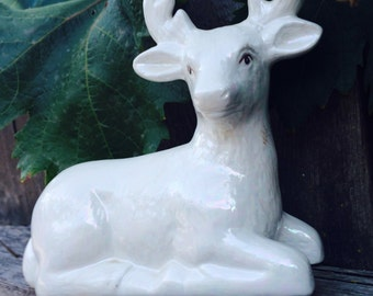 Vintage Unique White Ceramic Deer With Antlers