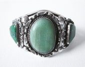 Vintage Navajo Sterling Silver Wide Cuff Bracelet Set With Green Turquoise Stones