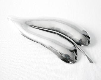 Large Vintage Scandinavian Sterling Silver Hand Hammered Leaf Brooch Signed Thor