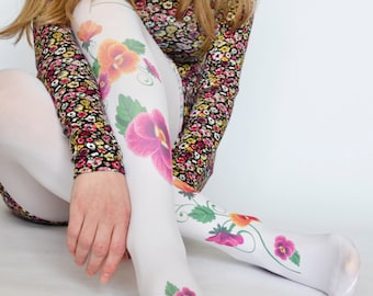 Design Tights With Purple Flowers,Print tattoo Leggings,Fashion Pantyhose