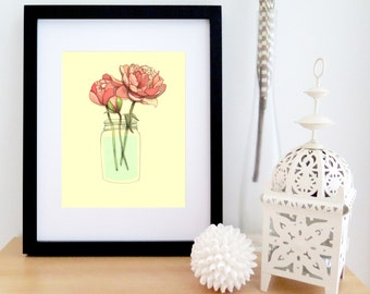 Romantic drawing of peonies in a mason jar | flowers bouquet | yellow and pink | poster for wall decor | 8'' X 10''