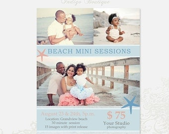 Beach Mini Session Template - Photography Marketing Board - 010 - ID195, Instant Download