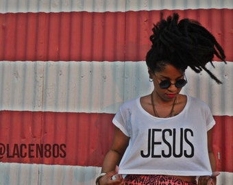 JESUS. T-Shirt.. Loose Crop Top//American Apparel