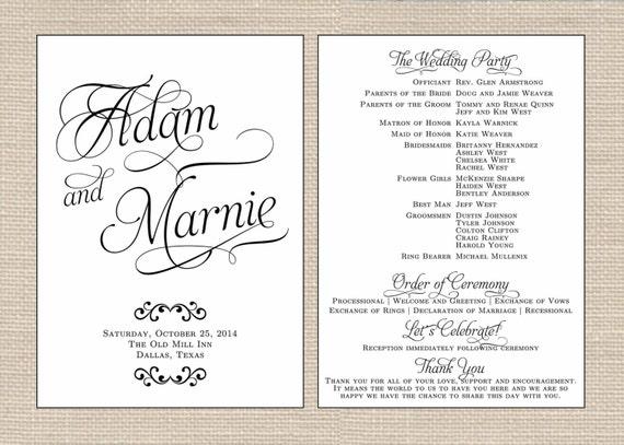 Classic Wedding Program Printable Fan By PrimroseAndPark