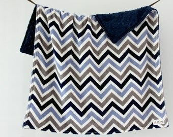 Baby Blanket, Blue and Grey Chevron with Navy Blue Dot Minky, Ready to Ship