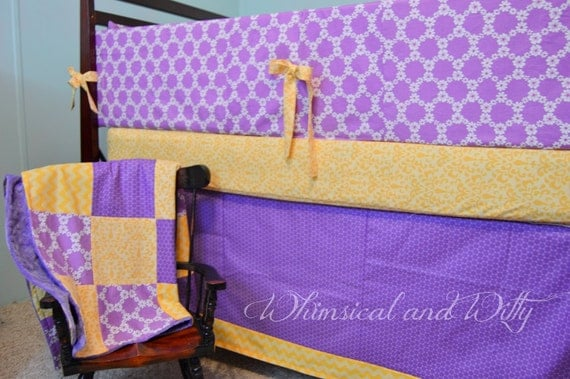 Items similar to baby bedding lavender purple and yellow - Purple and yellow bedding ...