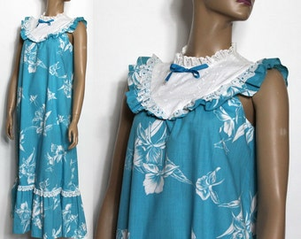 Vintage 1960s Dress Gown Hawaiian Designer Rockabilly Retro Garden Party Cocktail Mad Men Couture Pinup Hourglass Femme Fatale Wiggle