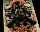 Darth Vader and Storm Troopers Art Print