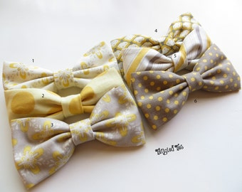 Yellow/Grey-Brown Groomsmen Bow Ties, Wedding Bow Ties, Coordinated Bow Ties, Mix and Match Bow Ties