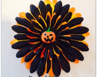 4 Inch Black and Orange Halloween Gerber Daisy Hair Clip