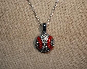 Rhinestone Baseball Charm Necklace Sterling Silver Chain