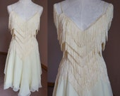 60s Vintage Vanilla Fringe Flowy Dress Small