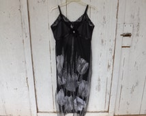 Bohemian Slip Dress Upcycled Slip Dress  Cottage Chic Sundress Sexy Little Black Dress Romantic Dress   (B)