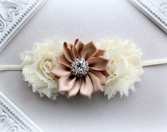 Ivory & Champagne Flower Headband - Ivory and Beige, Satin Headband, Shabby Flower Headband, Baby Headband, Newborn Headband, Girl Headband