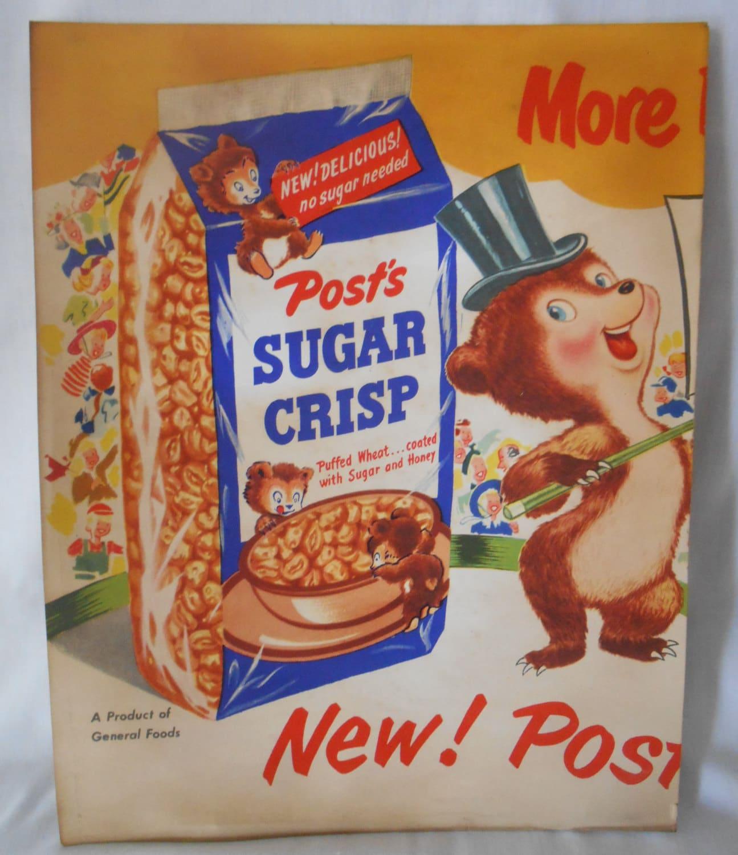 Vintage POST SUGAR CRISP Cereal Advertisement By