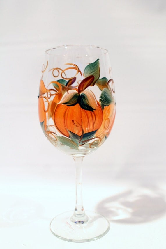 fall pumpkin hand painted wine glass 20 oz by brusheswithaview