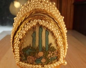 Vintage Hand made Christmas Egg with Nativity Scene Inside
