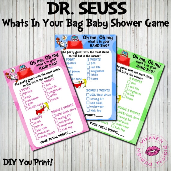 dr seuss whats in your bag baby shower game other party supplies