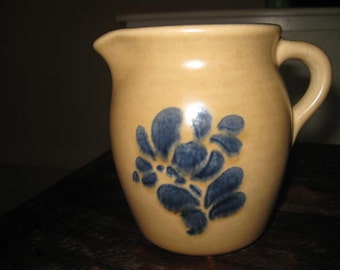 Pfaltzgraff Yorktowne Folk Art Creamer Pitcher Stoneware Folk Art Pottery 1970s Pottery