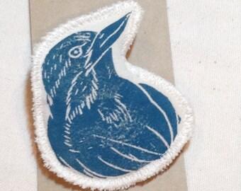Hand printed bird brooch