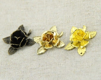 12 pcs of brass rose with leave charm pendant 22mm-1931-antique bronze 18k gold and raw brass