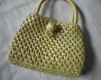 Vintage  '60s Made in Japan woven yellow spring summer purse