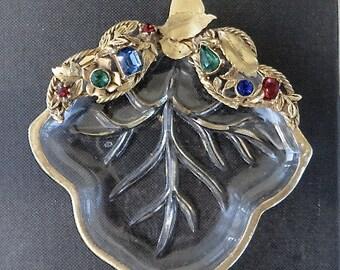 Vanity Dish, Jeweled Rhinestone Dish, Ring Jewelry Holder, Vintage Leaf Plate