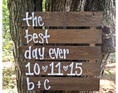 The Best Day Ever Wedding Date Initials Wooden Wedding Ceremony Sign