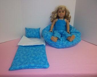 Fits American Girl Doll Tiny Aqua Hearts Sleeping Bag Pajamas And Bean Bag 156 TQ