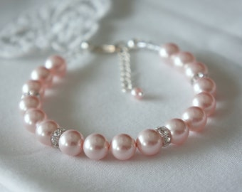 Pearl Wedding Bracelet, Pearl Bridesmaids Bracelet, CHOOSE Your Color Bridal jewelry, Swarovski Pearls CZ Crystals