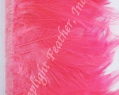Rooster hackle trim, Hot pink on bias tape, per yard