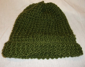 Hand-Knit Olive Wool-Blend Cap