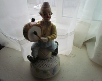 "Collectible 9"" Towle Clown Music Box ""Send in the Clowns"" Porcelain Bisque"