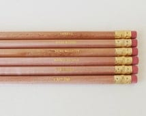 Favourite Words Pencils. Set of 6. Natural pencils with Gold Foil Text