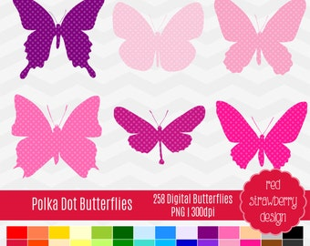 75% OFF Sale - Polka Dot Butterflies - 43 Digital Clip Art - Instant Download - PNG (CA105)