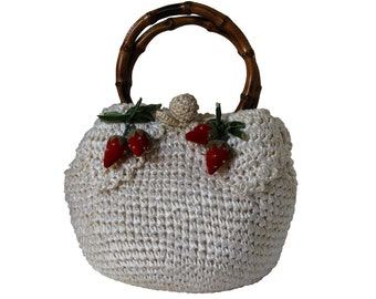 Vintage Mantessa Cream Colored Straw Bag Decorated with Strawberries