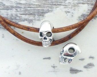 ONE 3D Skull Bead in Sterling Silver with Large Hole