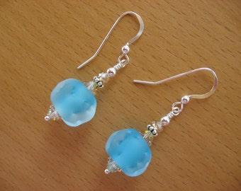 Lampwork Earrings, Blue Lampwork Earrings, Lampwork Bead Earrings, Ice Blue Earrings, Spring Earrings, Summer Earrings, Cute Earrings