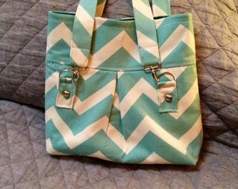 Bag Chevron Purse Chevron Handbag Hobo Bag Hobo Purse Hobo Handbag Pleated Bag Pleated Purse Pleated Handbag Shoulder Handbag Aqua Hobo Bag
