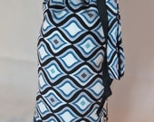 Blue Flames Padded Drop Spindle Bag / Spinning Project Bag or Wine Tote