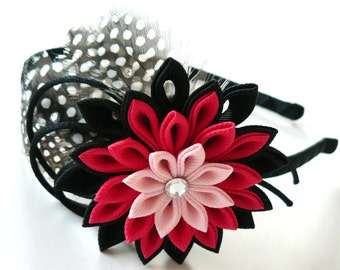 Kanzashi Fabric Flower headband with feathers. Black and pink. Headband with kanzashi flower.
