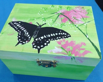 Solid Wood Box with Hinges and Latch - Acrylic Painted Butterfly and Flowers on Top