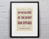 In The Silence Of The Heart, God Speaks / Mother Teresa - Inspirational Quote Dictionary Page Book Art Print - DPQU132