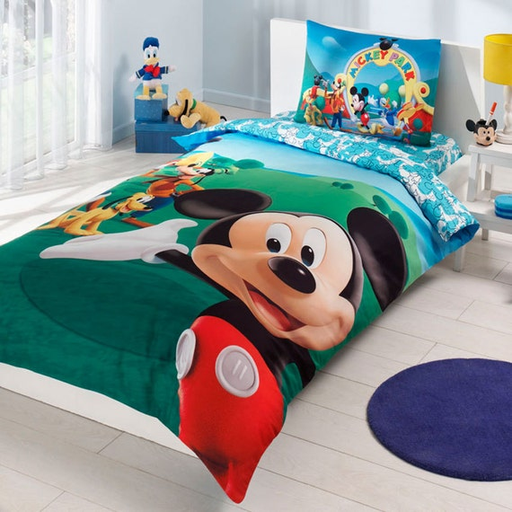 mickey mouse club house bedding set single by baharhometextile. Black Bedroom Furniture Sets. Home Design Ideas