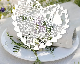 140pcs customer laser cut  hearts wedding invitations