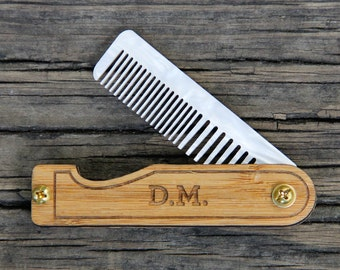 Personalized Wood Mustache Comb - Handmade Folding Beard & Mustache Grooming Comb with Bamboo Scales and White Mother of Pearl Acrylic