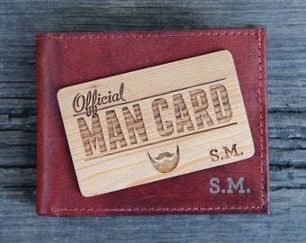 Wood Man Card - Personalized Wallet Insert - Custom Gift for Men