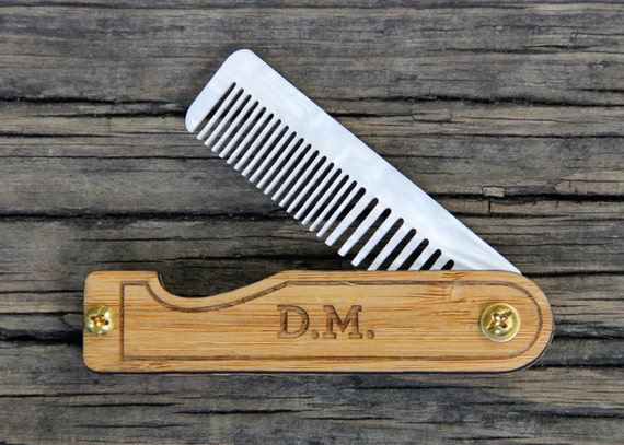 Personalized Handmade Folding Wood Mustache Comb - Bamboo and Marble Acrylic