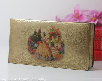 Vintage Tin Box, Tin Container with Lid / Jewelry Box, Tin Tea Box / Kitchen Storage Container, Made in England